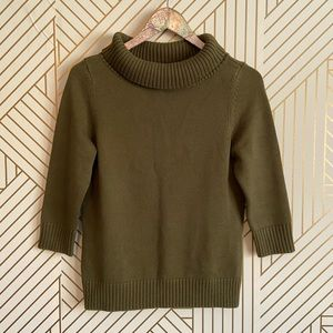 Talbots • womens petite S green sweater 3:4 sleeve